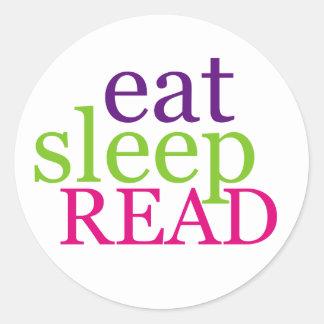 Eat Sleep READ - Retro Round Stickers
