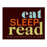 Eat, Sleep, Read - Your Priorities Postcard