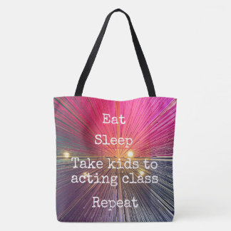 """Eat Sleep Repeat, Act"" quote pink tote bag"
