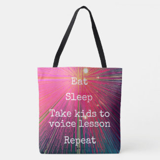 """Eat Sleep Repeat, Sing"" quote pink tote bag"