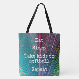 """Eat Sleep Repeat, Softball"" quote teal tote bag"