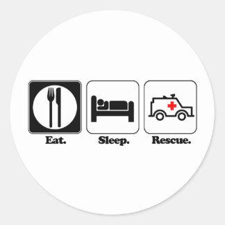 eat sleep rescue round sticker