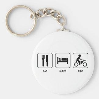 Eat Sleep Ride Basic Round Button Key Ring