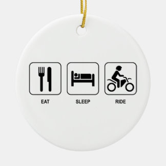 Eat Sleep Ride Double-Sided Ceramic Round Christmas Ornament