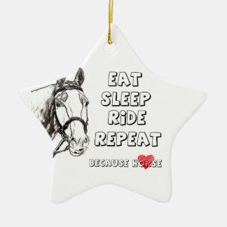 Eat Sleep Ride Repeat Christmas Ornament