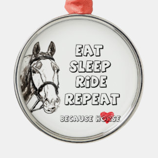 Eat Sleep Ride Repeat Silver-Colored Round Decoration