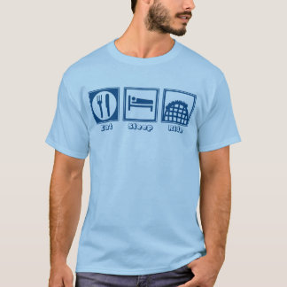 Eat Sleep & Ride (Roller Coasters) - Blue T-Shirt