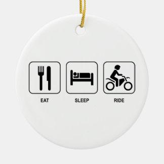 Eat Sleep Ride Round Ceramic Decoration