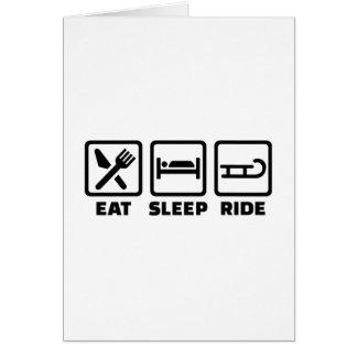 Eat Sleep ride Sled Greeting Card