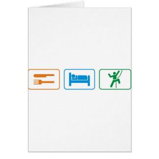 eat sleep -rock climb greeting card