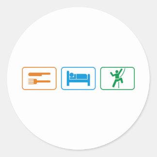 eat sleep -rock climb round sticker