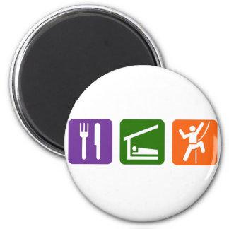 Eat Sleep Rock Climbing 6 Cm Round Magnet