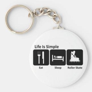 Eat Sleep Roller Skate Basic Round Button Key Ring