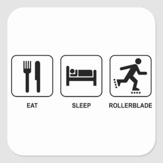 Eat Sleep Rollerblade Square Stickers