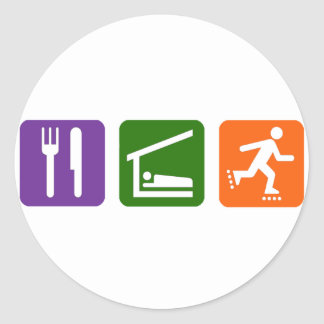 Eat Sleep Rollerblading Round Stickers