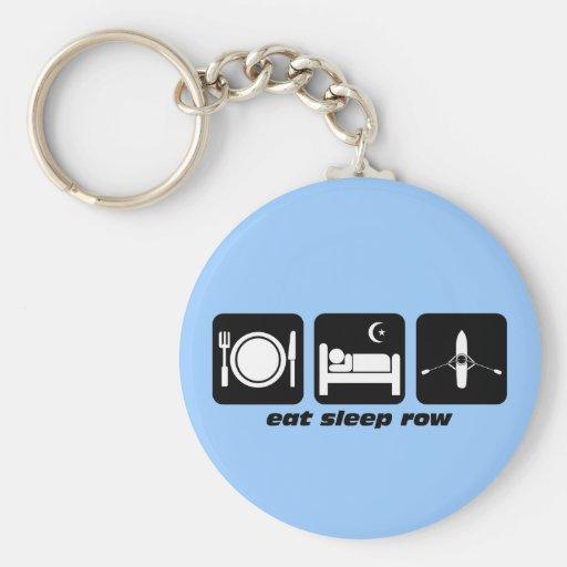 eat sleep row keychains