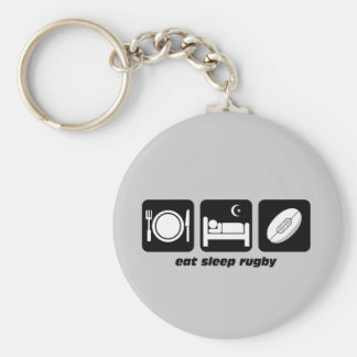 eat sleep rugby basic round button key ring