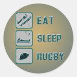 Eat Sleep Rugby Round Stickers