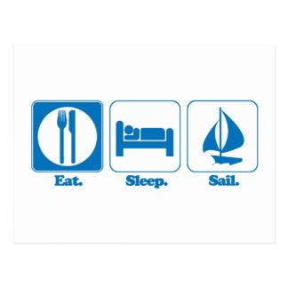eat sleep sail post card