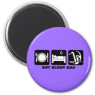 eat sleep sax 6 cm round magnet