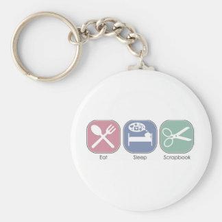 Eat Sleep Scrapbook Basic Round Button Key Ring