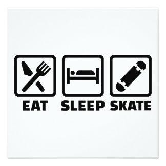 Eat sleep skate 13 cm x 13 cm square invitation card