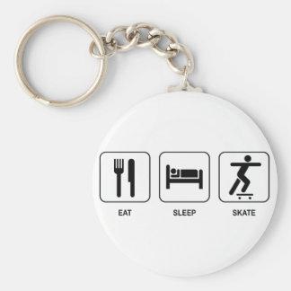 Eat Sleep Skate Basic Round Button Key Ring