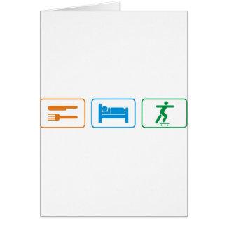 eat sleep skate board greeting card
