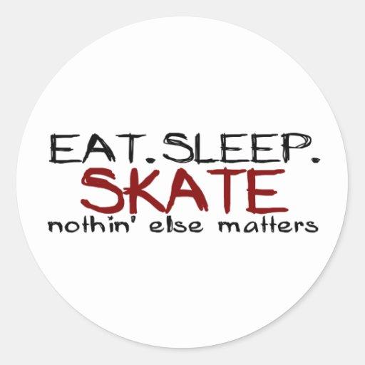 Eat Sleep Skate Classic Round Sticker