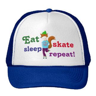 Eat Sleep Skate Repeat Rollerskating Fox Cap
