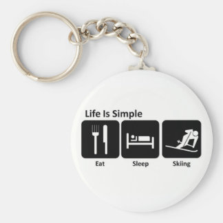 Eat, Sleep, Ski Basic Round Button Key Ring