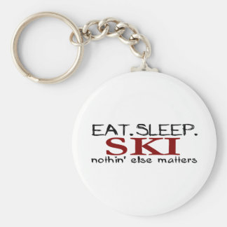 Eat Sleep Ski Basic Round Button Key Ring