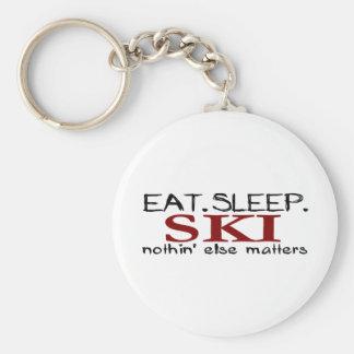 Eat Sleep Ski Key Ring