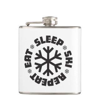 Eat Sleep Ski Repeat (black graphic) Flask