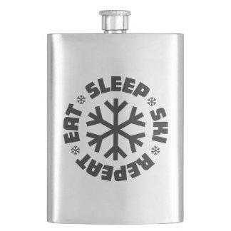 Eat Sleep Ski Repeat (black graphic) Flasks