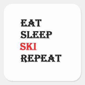 Eat Sleep Ski Repeat Square Sticker