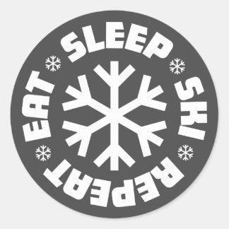 Eat Sleep Ski Repeat Sticker (white graphic)