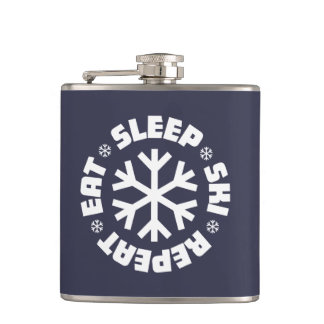 Eat Sleep Ski Repeat (white graphic) Hip Flask