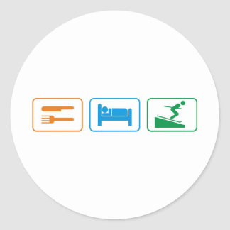 EAT SLEEP SKI ROUND STICKER
