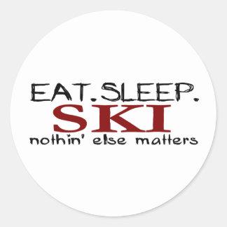 Eat Sleep Ski Round Stickers