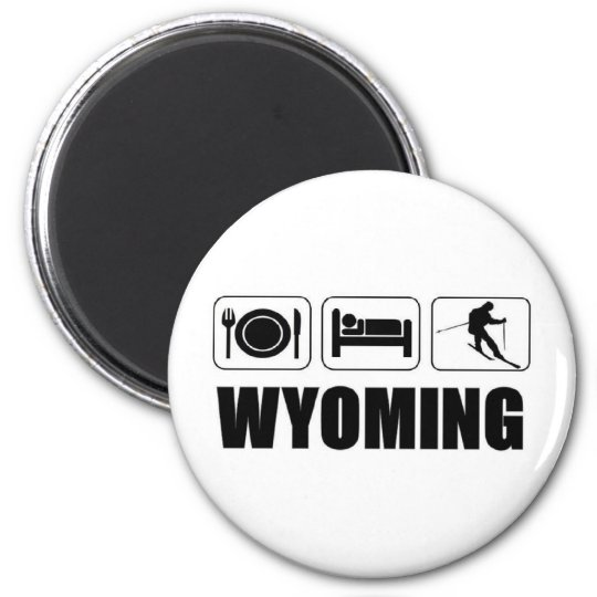 Eat sleep ski Wyoming 6 Cm Round Magnet