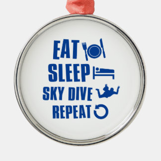 Eat sleep Skye dive Silver-Colored Round Decoration