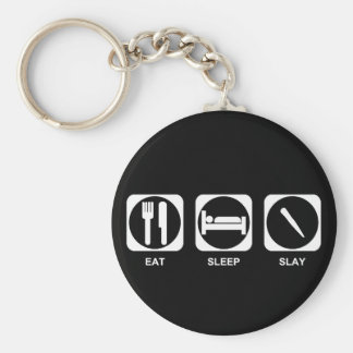 Eat Sleep Slay Basic Round Button Key Ring