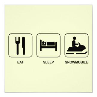 Eat Sleep Snowmobile 13 Cm X 13 Cm Square Invitation Card