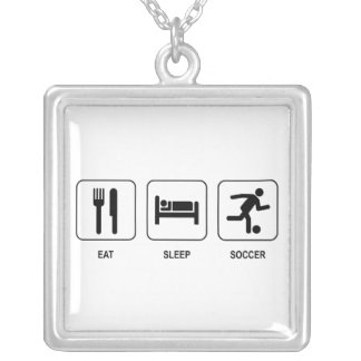 Eat Sleep Soccer Silver Plated Necklace