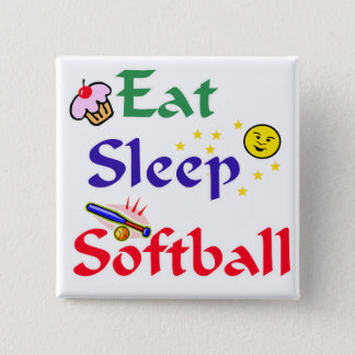 Eat Sleep Softball 15 Cm Square Badge