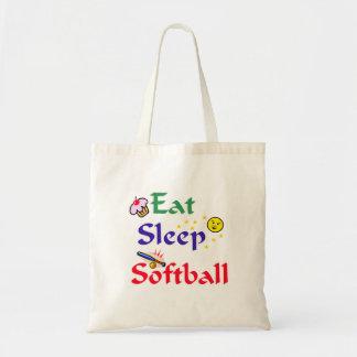Eat Sleep Softball Budget Tote Bag