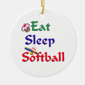 Eat Sleep Softball Christmas Ornament