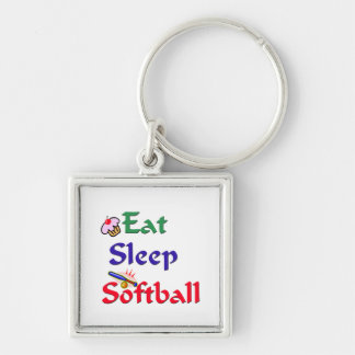 Eat Sleep Softball Key Ring