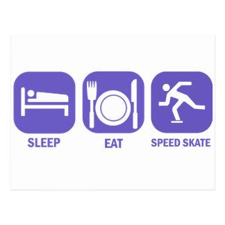 Eat Sleep Speed Skate Post Card